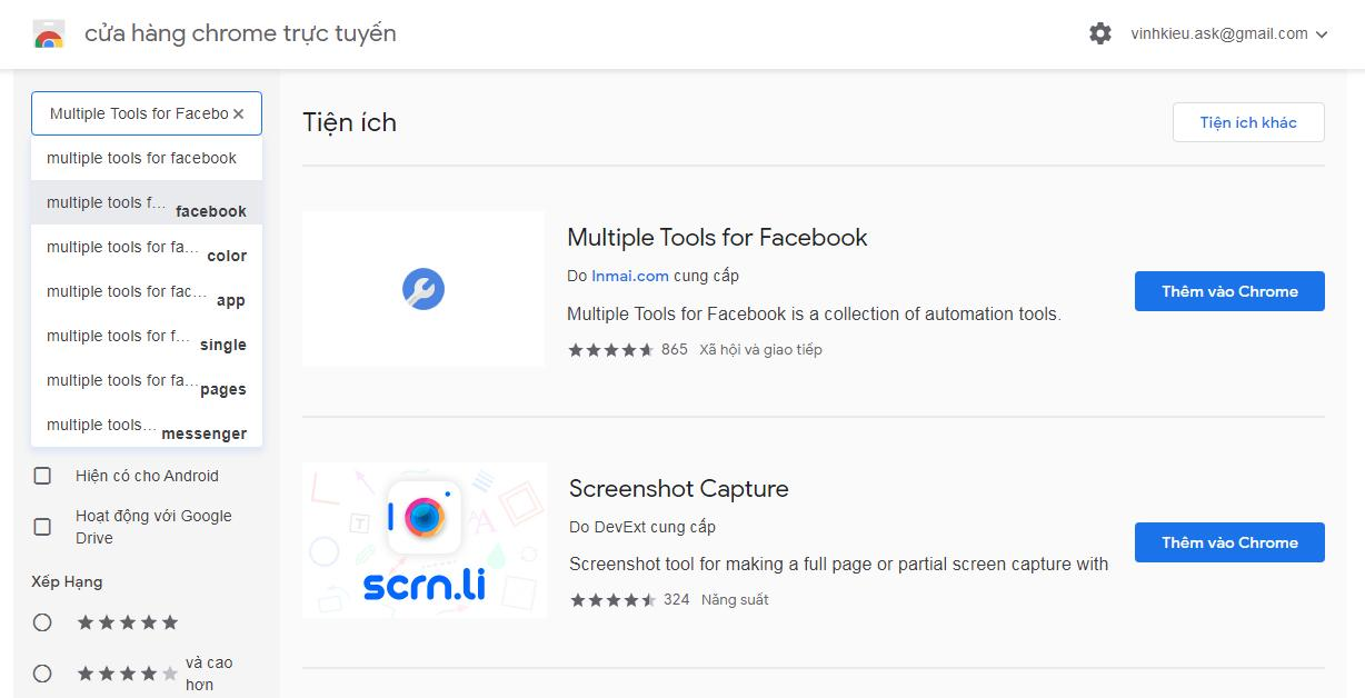 Tiện ích mở rộng Multiple tools for Facebook