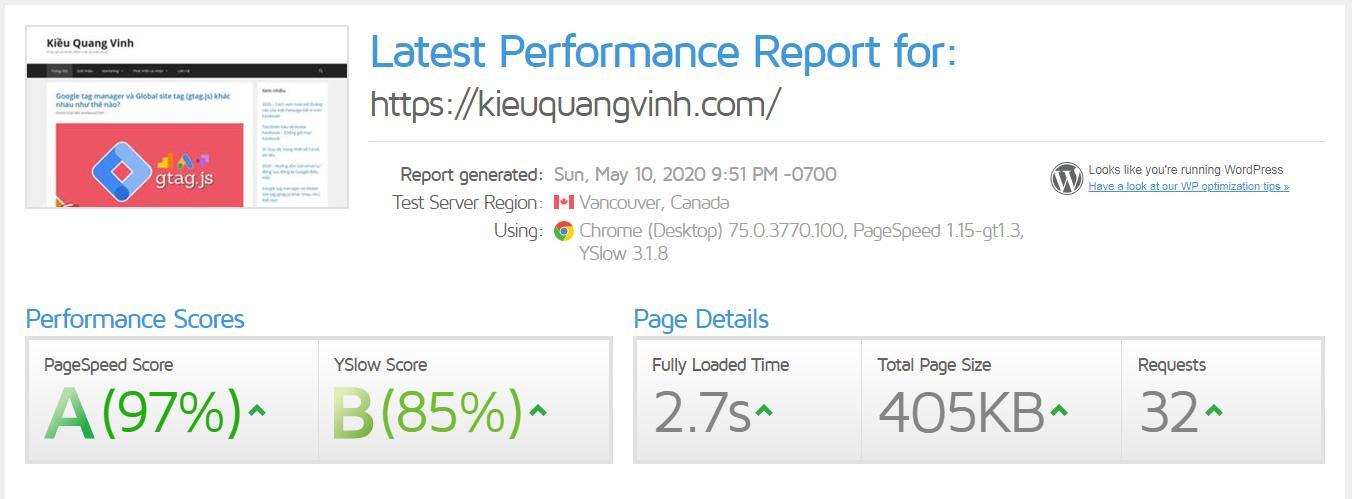 Kết quả GTMetrix của kieuquangvinh.com